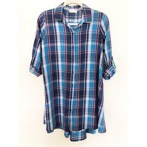 Altar'd State Blue Plaid Shirt Dress Small